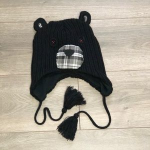 Cute Bear Plaid Toboggan with Tassel Straps